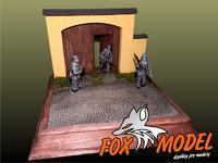 Mini Diorama Vjezdová brána s kamenitou cestou. 1:35 (bez dřevěného obložení podstavcem)