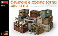 Champagne & Cognac Bottles w/Crates