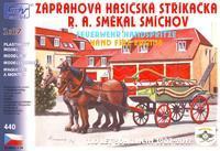 Zápřah. stříkačka R.A. Smékal - Smíchov, s koňmi.