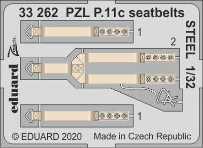 PZL P.11c upínací pásy OCEL 1/32  lept