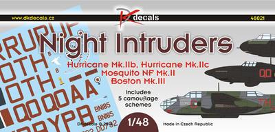 Night Intruders Hurricane Mk.IIb, Hurricane Mk.IIc. Mosquito NF Mk.II, Boston Mk.III