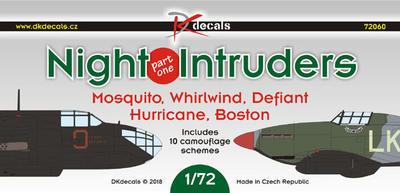 Night Intrudes Moquito, Whirlwind, Defiant, Hurricane, Boston