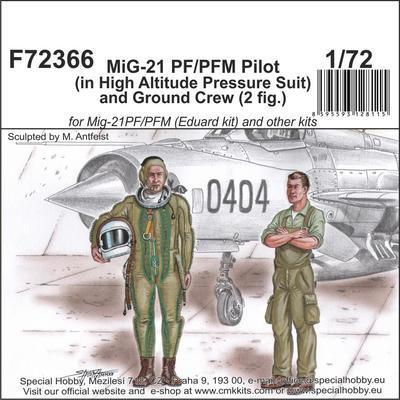 MiG-21 PF/PFM Pilot (in High Altitude Pressure Suit) and Ground Crew (2 fig.)