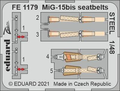 MiG-15bis upínací pásy OCEL 1/48,  lept