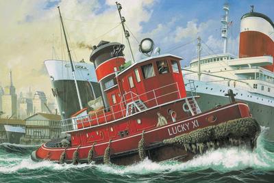 Harbour Tug Boat 1:108,  set stavebnice se štětci, lepidlem a barvami.
