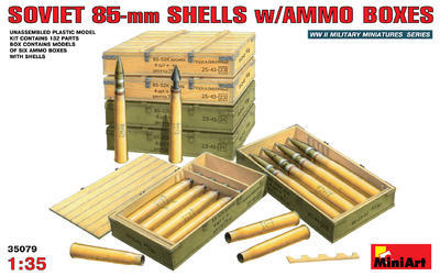 Soviet  85 mm Shells w/Ammo Boxes