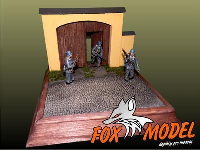 Mini Diorama Vjezdová brána s kamenitou cestou. 1:35 (bez dřevěného obložení podstavcem) - 1