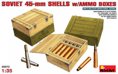 Soviet 45 mm Shells w/Ammo Boxes