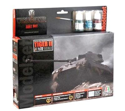 Tiger II - World Of Tanks, kit s barvami, lepidlem a štětcem.