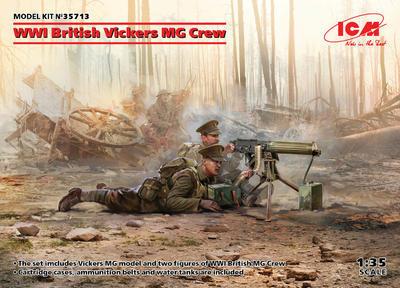 WWI British Vickers MG Crew (Vickers MG & 2 figures)  - 1