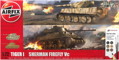 Classic Conflict Tiger 1 vs Sherman Firefly (1:72), starter set, lepidlo, barvy..