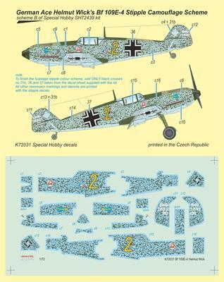 Bf 109E-4 German Ace H. Wick Decal Motley Camo