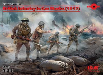 British Infantry in Gas Masks - 1917,  4fig.