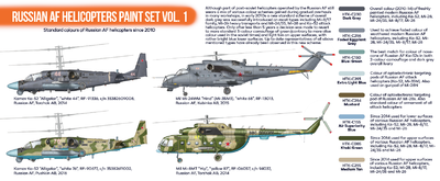 Russian AF Helicopters  Paint Set Vol.1, set barev - 2