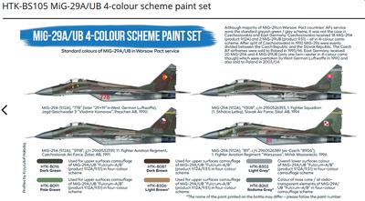 MiG-29A/UB 4-colour scheme paint set, set barev - 2