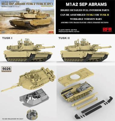 M1A2 SEP Abrams TUSK I/Tusk II 2in 1 with Full Interior - 2