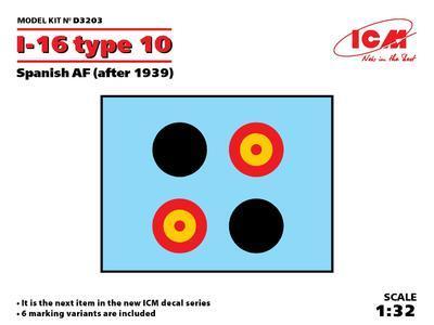 I-16 type 10 Sanich AF (after 1939), decals 1:32 - 2