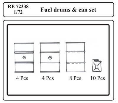 Fuel Drums  & can set, resin - 3